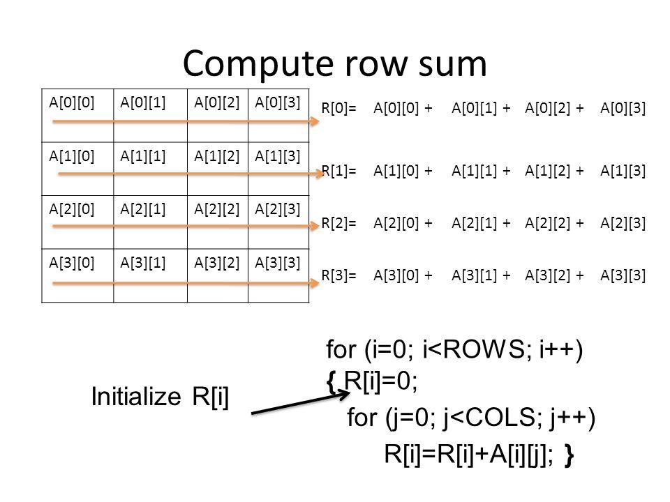 Compute row sum for (i=0; i<ROWS; i++) { R[i]=0; Initialize R[i]